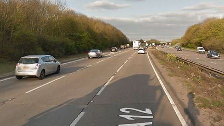 A car crash and a swan have caused long delays on the A12 Picture: GOOGLE MAPS