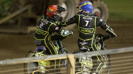 Cameron Heeps & Jake Allen celebrate in heat 8 of the Ipswich Witches v Poole Pirates play-off semi
