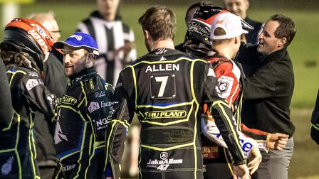 The Witches celebrate after Richard Lawson and James Sarjeant had raced to a 4-2 in heat 14, to secu