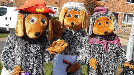 Wombles from the community sponsored litter pick for Suffolk Libraries day. Picture: SUFFOLK LIBRARI