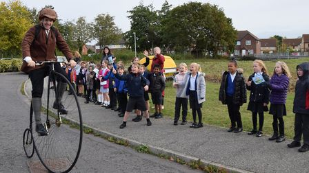 The penny farthing went from Kesgrave to Gainsborough as part of the book journey. Picture: SUFFOLK
