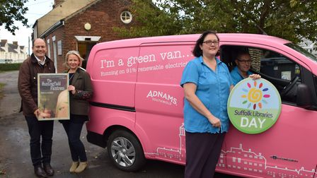 Adnams took the book across from Southwold to Framlingham in their bright pink electric van. Picture