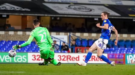 Will Keane beats Gillingham keeper Joe Walsh for Town's fourth, in the 4-0 EFL Trophy victory. Pi