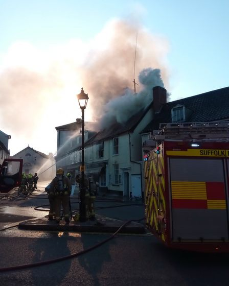 A flat fire in Halesworth in June 2018 destroyed the newsagents beneath . Picture Chloe Miles/Facebo