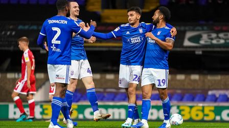 Town players celebrate Jordan Roberts goal to give them a 2-0 lead in the Gillingham EFL Trophy matc