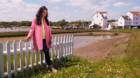 Presenter Sonali Shah in Woodbridge for the BBC One programme Escape to the Perfect Town. Picture: B