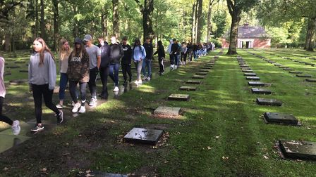 The students visited the German war cemetery at Langemark as part of the trip Picture: MILDENHALL C