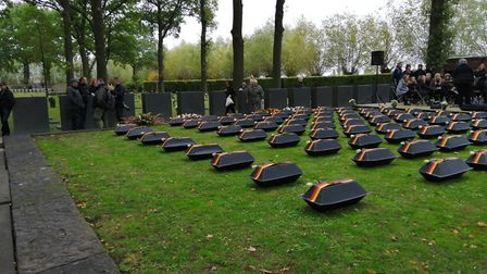 Caskets containing the remains of German soldiers await burial at Langemark cemetery Picture: ST JO