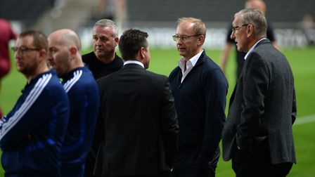 Paul Lambert and Marcus Evans on pitch side before kick-off at Stadium MK Picture Pagepix