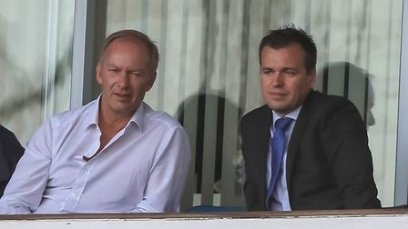 Ipswich Town owner Marcus Evans watches the home game against Doncaster alongside general manager of