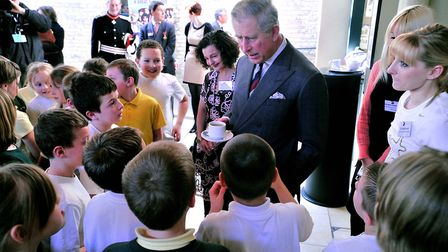 Prince Charles met children from Hillside Primary, Ipswich, as part of a Dance East project at the