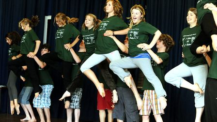 Members of the Suffolk Young People's Theatre in rehearsals for the 2009 production of Seven Brides