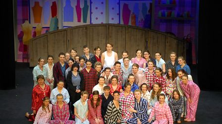 """West End star Ruthie Henshall visited the cast of """"The Pajama Game"""" pupils from County Upper School"""