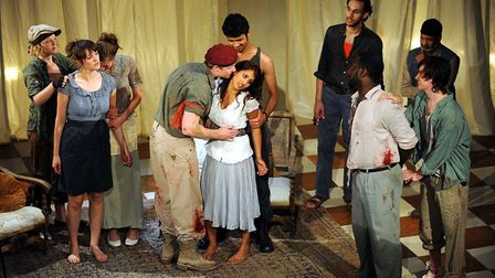 Rehearsals in 2009 for the a performance of The Massacre, a play staged for the first time after bei