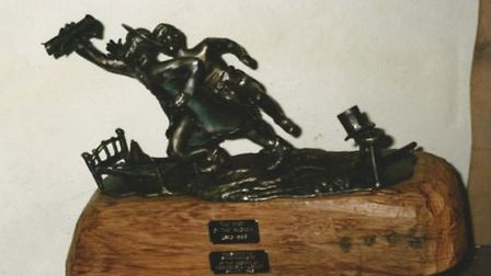 The Race of the Boggmen trophy which has gone missing from The Chestnut Horse. Picture: THE CHESTNUT