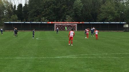 The scene at Bell Close, before the FA Vase tie between Leighton Town and Hadleigh United. Picture: