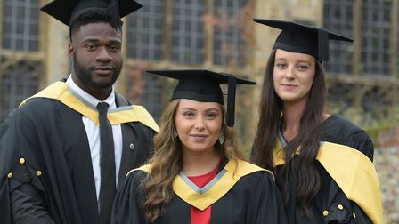 Chiedozie Uzor, Sophie Williams and Kya Butcher celebrate their graduation day Picture: SARAH LUCY