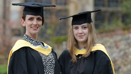 Leanne Savage and Megan Coleman celebrating their graduation day Picture: SARAH LUCY BROWN