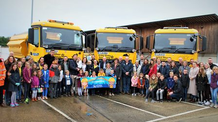Children were excited despite the autumn conditions as they got to see the newly revealed gritters.