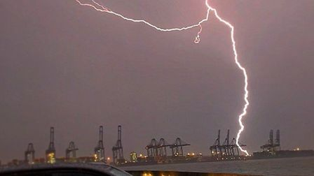 Fork lightning over the East Angliam coastline as a massive thunderstorm swept through Suffolk. Pict