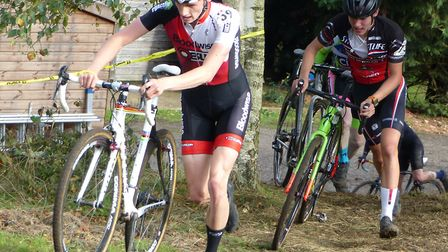 Colchester rider Cam Hurst leads junior winner Angus Toms at the CC Ashwell event. Picture: FERGUS M