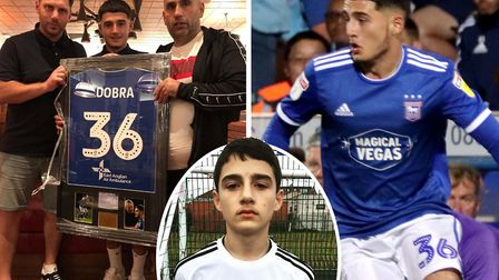 Armando Dobra, pictured left with father Lulzim and Ben Dixon of Finesse Academy where the youngster