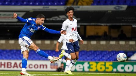 Armando Dobra with a first half strike in the game against Tottenham. Picture: Steve Waller ww