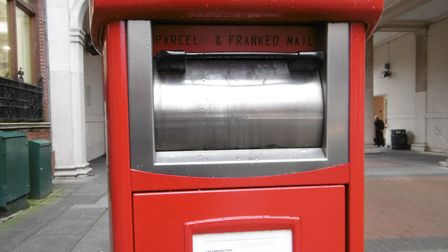 One of the new parcel postboxes, designed for the use of pre-paid business customers including inter