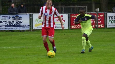 Armani Schaar runs into the box to put Felixstowe and Walton United two up in the 11th minute agains