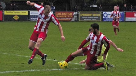 The Felixstowe & Walton United defence snuff out a Coggeshall attack. Picture: DAVE FRANCIS