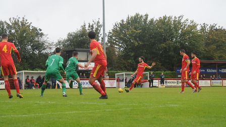 Joe Marsden steps up to fire home a free-kick and give Needham Market the lead, although Alvechurch