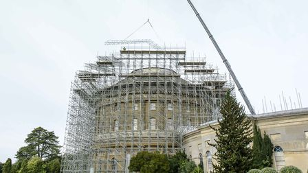 The 262ft crane lifting the scaffolding into place Picture: NATIONAL TRUST/JIM WOOLF