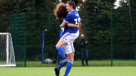 Eloise King celebrates her goal with Abbie Lafayette Picture: ROSS HALLS