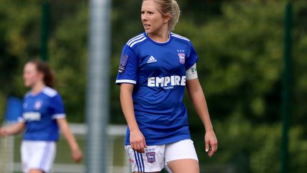 Town Women's captain Amanda Crump scored twice on her 200th appearance for the club in the Blues' 7-