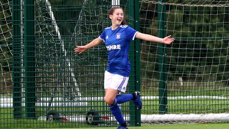 Eloise King celebrates her second goal as Town Women beat Royston Town 7-0 at Playford Road Picture: