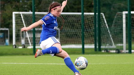 Maddie Biggs scored twice as Town Women progressed to the next round of the FA Cup Picture: ROSS HAL