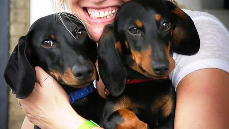 Susie Medland pictured with Rambo and Rose before the tragic accident - the Southwold Sausage Dog Wa