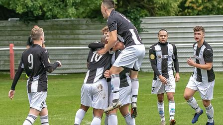 Woodbridge Town celebrate Kelsey Trotter's opening goal in the 3-1 win at Tring Athletic on Saturday