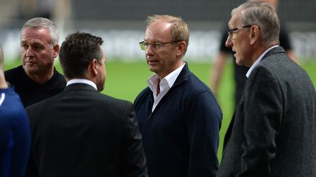 Terry Butcher (right) witbh manager Paul Lambert, owner Marcus Evans and general manager of football