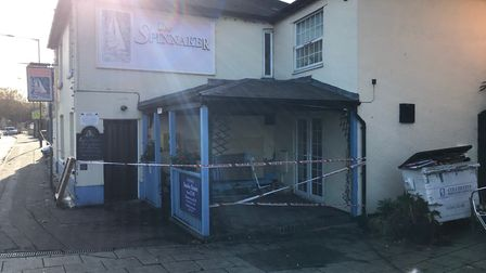 Damage caused to the the Spinnaker Public House in Colchester, Essex, after a Nissan Qashqai crashed