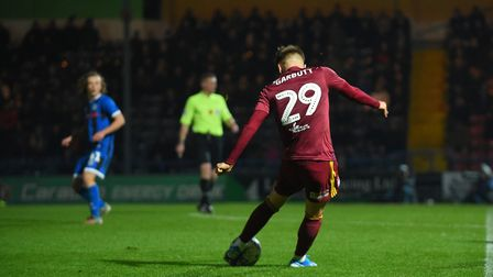 Luke Garbutt hits the crossbar with this shot at Rochdale Picture Pagepix