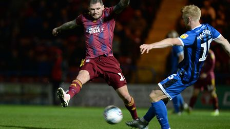 Ipswich's James Norwood closes down Paul McShane at Rochdale Picture Pagepix