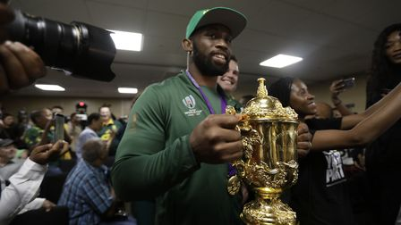 Siya Kolisi arrives back on home soil at the O.R. Tambo Airport in Johannesburg. Picture: PA SPORT
