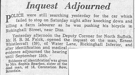 A press cutting from August 19, 1958, reporting the opening of an inquest into the death of Ernest W