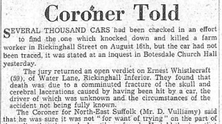 A press cutting from September 16, 1958, reporting that police had been unable to trace the car link