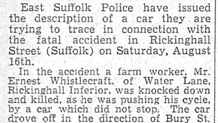 A press cutting from August 28, 1958, reporting the description of a car police wanted to trace in c