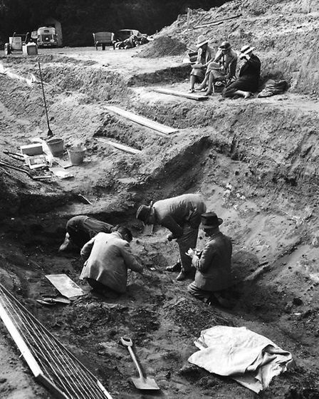 Excavation work taking place at the burial ship mound at Sutton Hoo in 1939. Picture: COURTESY OF SU