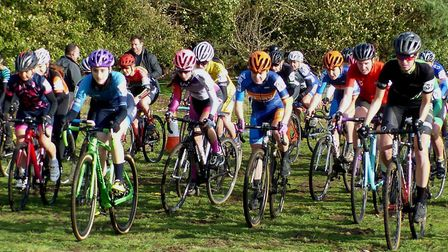 The start of the women's race at West Stow Country Park. Eventual winner Ffion James (far right). Pi