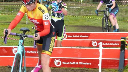 At the planks – Harley Pell leads Katie Scotter and Martha Lebentz at West Stow. Picture: FERGUS MUI