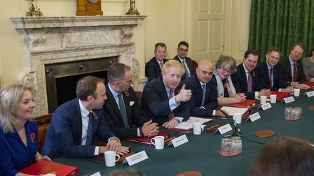 Prime Minister Boris Johnson at his last cabinet meeting before Parliament was dissolved. Picture: T